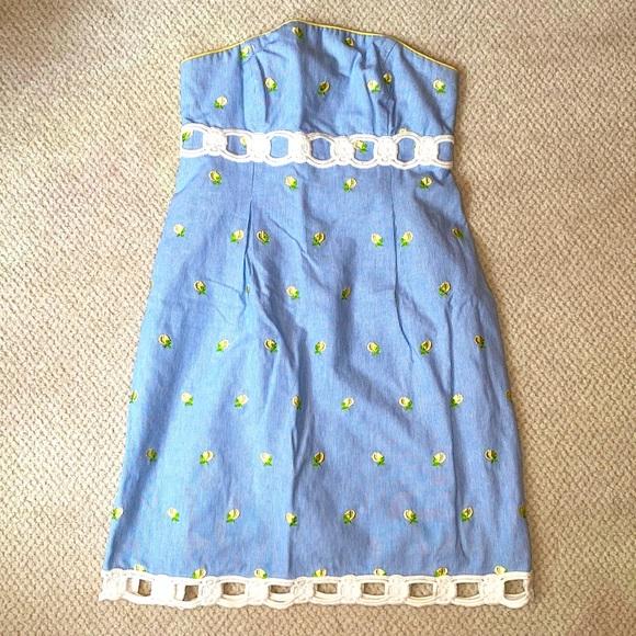 Lilly Pulitzer seersucker lemon strapless dress